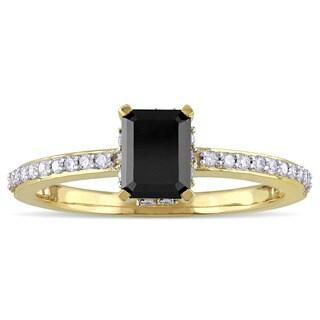 Miadora 10k Yellow Gold 1 1/5ct TDW Black and White Diamond Engagement Ring (G-H, I2-I3)