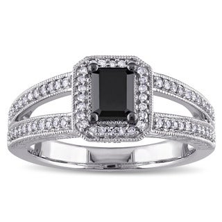 Miadora 10k White Gold 7/8ct TDW Black and White Diamond Halo Split Shank Engagement Ring