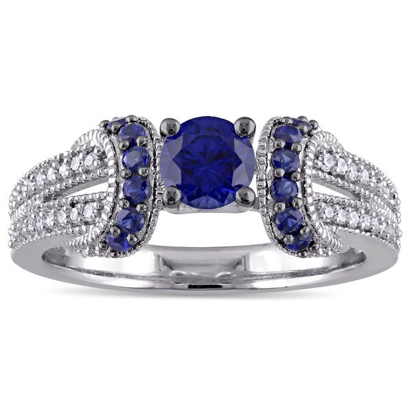 Miadora Sterling Silver 1/6ct TDW Diamond and Created Blue Sapphire Split Shank Engagement Ring
