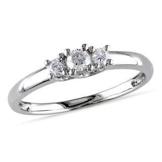 Miadora Sterling Silver 1/4ct TDW Diamond 3-Stone Promise Ring