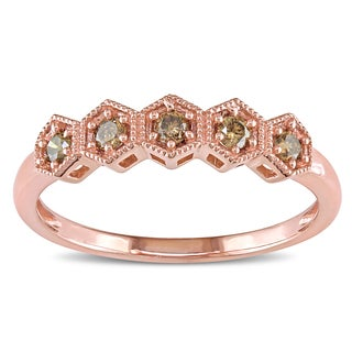 Miadora Rose Plated Sterling Silver 1/4ct TDW Brown Diamond Hexagon Engagement Ring