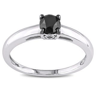 Miadora Sterling Silver and Black Rhodium Plated Silver 1/2ct TDW Black Diamond Solitaire Engagement Ring