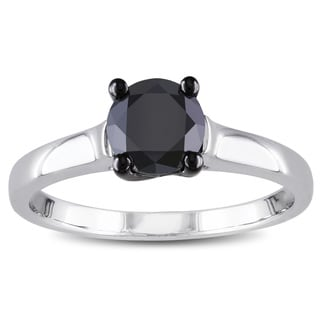 Miadora Sterling Silver 1ct TDW Black Diamond Solitaire Engagement Ring