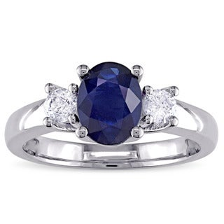 Miadora Signature Collection 14k White Gold Oval-Shaped Blue Sapphire and 1/3ct TDW Diamond Engagement Ring (G-H, I1-I2)