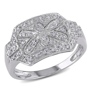 Miadora 14k White Gold 1/8ct TDW Diamond Vintage Flower Ring