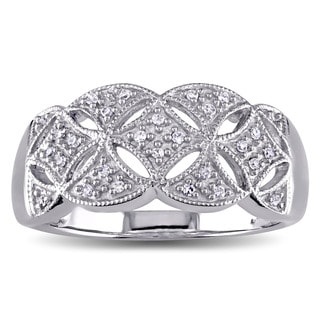 Miadora 14k White Gold 1/10ct TDW Diamond Filigree Anniversary Ring
