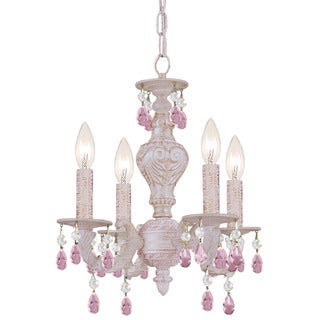 Crystorama Paris Market Collection 4-light Antique White/Rose Crystal Mini Chandelier