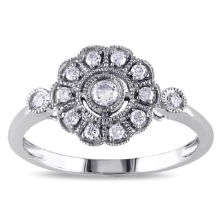 Miadora 14k White Gold 1/4ct TDW Diamond Vintage Flower Ring