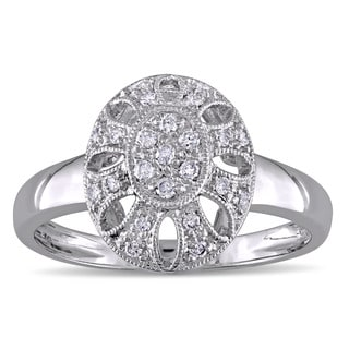 Miadora 14k White Gold 1/6ct TDW Diamond Vintage Oval Ring