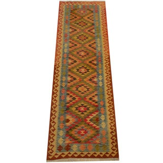 Herat Oriental Afghan Hand-woven Vegetable Dye Wool Kilim Runner (2'10 x 9')