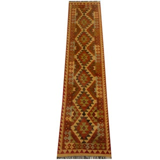 Herat Oriental Afghan Hand-woven Vegetable Dye Wool Kilim Runner (2'3 x 10'1)