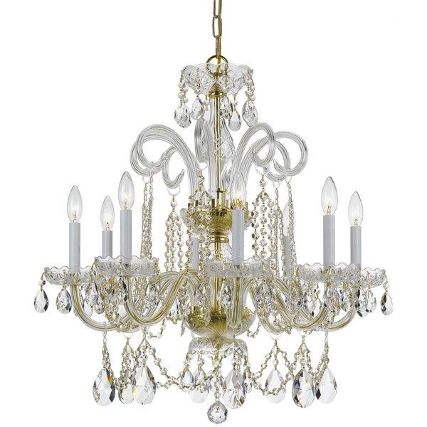 Crystorama Traditional 8-light Brass/Swarovski Strass Crystal Chandelier - Gold