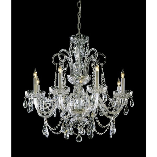 Crystorama Traditional 8-light Polished Brass/Swarovski Elements Strass Crystal Chandelier