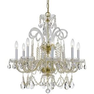 Crystorama Traditional 8-light Polished Brass/Crystal Chandelier