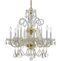 Crystorama Traditional 8-light Brass/Crystal Chandelier - Polished brass