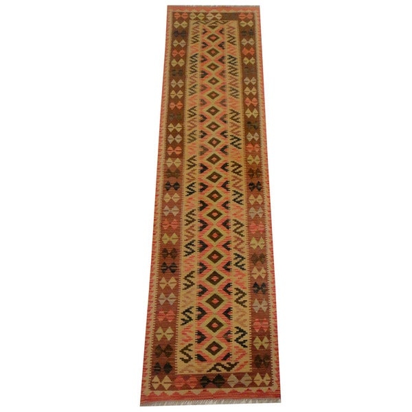 Herat Oriental Afghan Hand-woven Vegetable Dye Wool Kilim Runner (2'5 x 9'9)