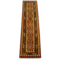 Herat Oriental Afghan Hand-woven Vegetable Dye Wool Kilim Runner - 2'9 x 9'11