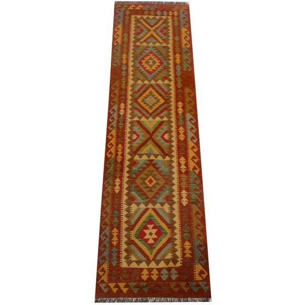 Herat Oriental Afghan Hand-woven Vegetable Dye Wool Kilim Runner (2'7 x 9'8)