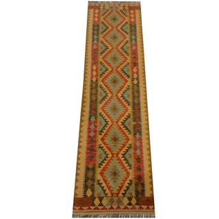 Herat Oriental Afghan Hand-woven Vegetable Dye Wool Kilim Runner (2'8 x 9'11)