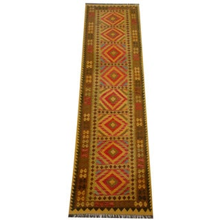 Herat Oriental Afghan Hand-woven Vegetable Dye Wool Kilim Runner (2'10 x 10'3)