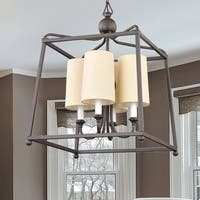 4-light Dark Bronze Chandelier w/Shades