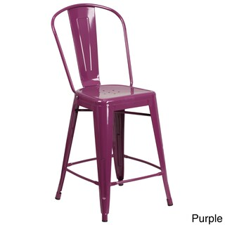 The Curated Nomad Liholio 24-inch Indoor/ Outdoor Counter Height Stool (Option: Purple)