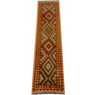 Herat Oriental Afghan Hand-woven Vegetable Dye Wool Kilim Runner (2'7 x 9'9)