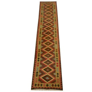 Herat Oriental Afghan Hand-woven Vegetable Dye Wool Kilim Runner (2'7 x 12'9)
