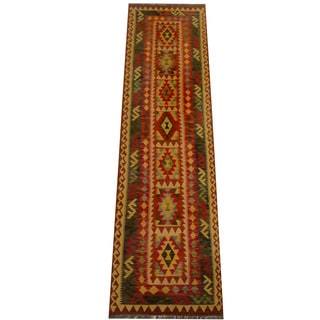 Herat Oriental Afghan Hand-woven Vegetable Dye Wool Kilim Runner (2'7 x 10')