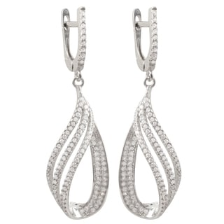 Luxiro Sterling Silver Pave Cubic Zirconia Cascade Teardrop Earrings