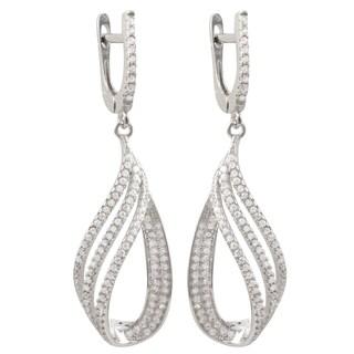 Luxiro Sterling Silver Pave Cubic Zirconia Cascade Teardrop Earrings