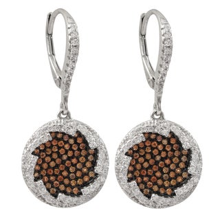 Luxiro Two-tone Sterling Silver Champagne Cubic Zirconia Circle Dangle Earrings