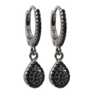 Luxiro Sterling Silver Black Cubic Zirconia Teardrop Dangle Earrings