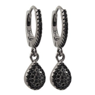 Luxiro Sterling Silver Black Cubic Zirconia Teardrop Dangle Earrings