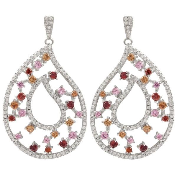 Luxiro Sterling Silver Multicolor Cubic Zirconia Teardrop Dangle Earrings