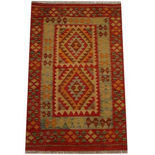Herat Oriental Afghan Hand-woven Vegetable Dye Wool Kilim (3'2 x 4'11)