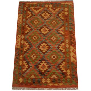 Herat Oriental Afghan Hand-woven Vegetable Dye Wool Kilim (3'4 x 5')