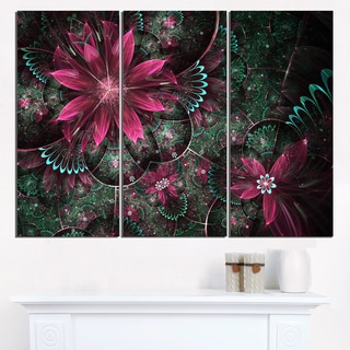 Glossy Green and Red Fractal Flowers - Large Floral Wall Art Canvas
