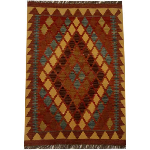 Handmade One-of-a-Kind Vegetable Dye Wool Kilim (Afghanistan) - 2'2 x 3'2