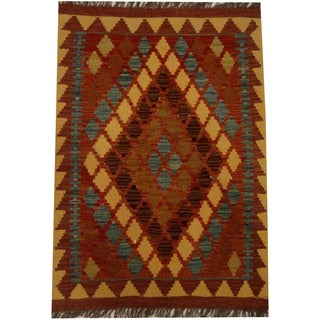 Herat Oriental Afghan Hand-woven Vegetable Dye Wool Kilim (2'2 x 3'2)