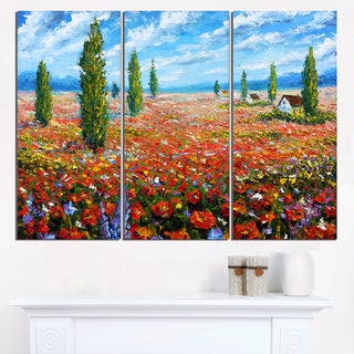 Red Poppies Field Watercolor - Large Flower Canvas Wall Art