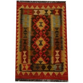 Herat Oriental Afghan Hand-woven Vegetable Dye Wool Kilim (1'10 x 2'10)