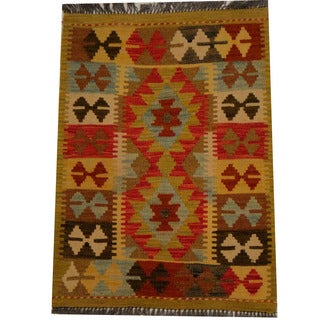 Herat Oriental Afghan Hand-woven Vegetable Dye Wool Kilim (2'1 x 2'10)