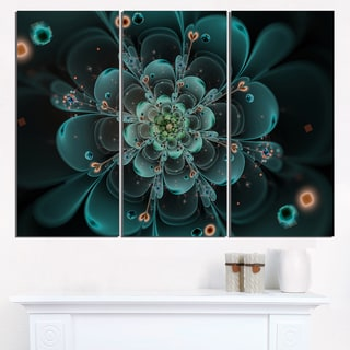 Full Bloom Fractal Flower in Blue - Large Flower Canvas Wall Art