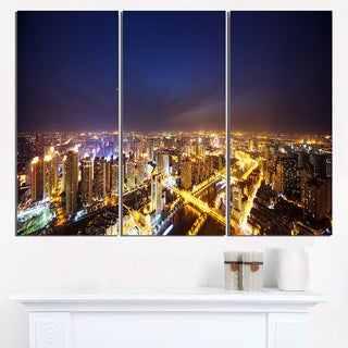 Downtown Nighttime Panorama - Cityscape Artwork Canvas
