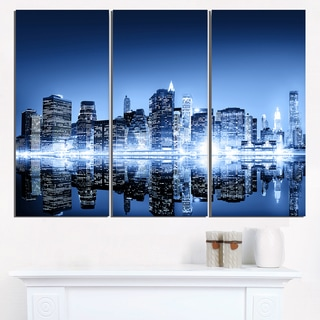Night New York City Mirrored - Cityscape Artwork Canvas