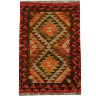 Herat Oriental Afghan Hand-woven Vegetable Dye Wool Kilim (2' x 3')