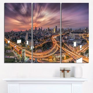 Bangkok S Shaped Express Way - Cityscape Artwork Canvas