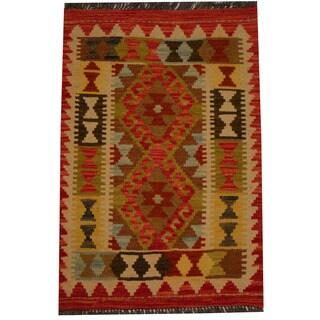 Herat Oriental Afghan Hand-woven Vegetable Dye Wool Kilim (1'11 x 2'11)