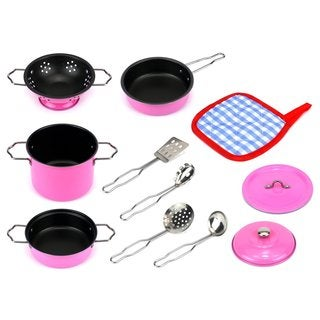 Velocity Toys Little Chef Combo Complete 11-piece Metal Kid's Pink Kitchenware